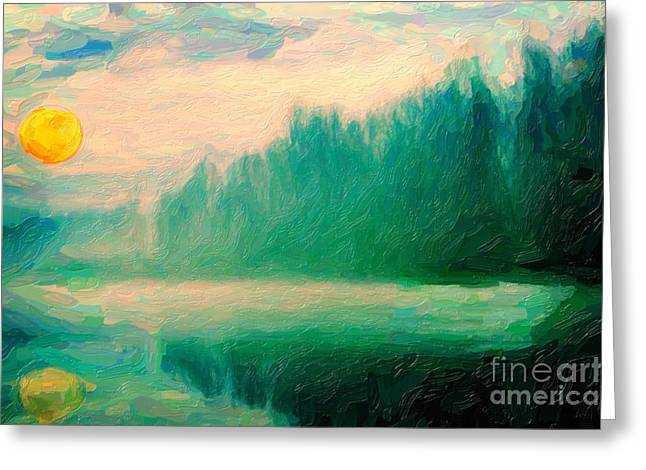 Haze Paintings Greeting Cards - Misty Morning Greeting Card by Celestial Images