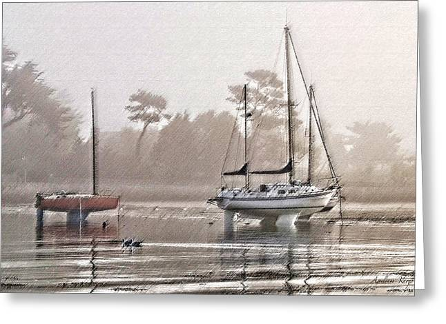 Yachting Mixed Media Greeting Cards - Misty Morning  Greeting Card by Andrew  Kemp