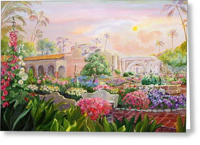 Great Place To Fish Greeting Cards - Misty Morning at Mission San Juan Capistrano  Greeting Card by Jan Mecklenburg