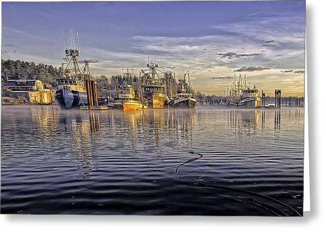 Boats At Dock Greeting Cards - Misty Morning at the Docks Greeting Card by Evan Spellman