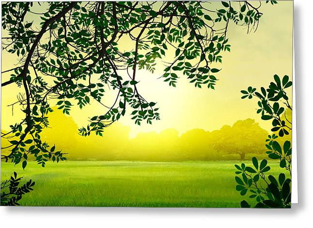 Misty Morning Greeting Card by Bedros Awak