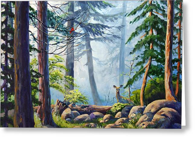Smokey Mountains Paintings Greeting Cards - Misty Morning Greeting Card by CB Hume
