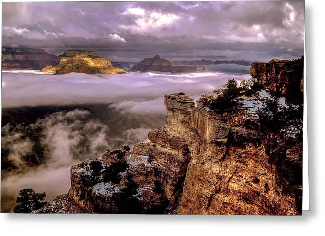The Grand Canyon Greeting Cards - Misty Morning Greeting Card by Cliff Wassmann