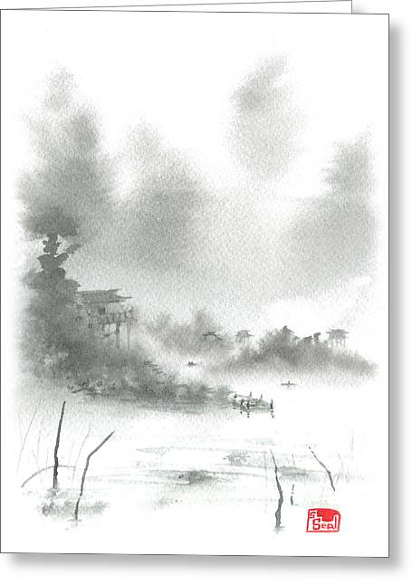 Chinese Landscape Greeting Cards - Misty Morning Fishing Village Greeting Card by Sean Seal