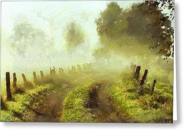 Sweden Digital Art Greeting Cards - Misty morning Greeting Card by Gun Legler