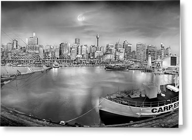 Tall Ships Greeting Cards - Misty Morning Harbour - BW Greeting Card by Az Jackson
