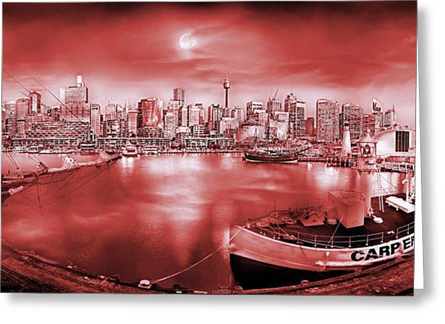 Red And Black Greeting Cards - Misty Morning Harbour - Red Greeting Card by Az Jackson