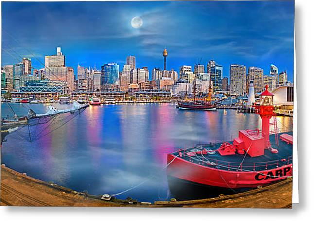 Darling Harbour Greeting Cards - Misty Morning Harbour Greeting Card by Az Jackson