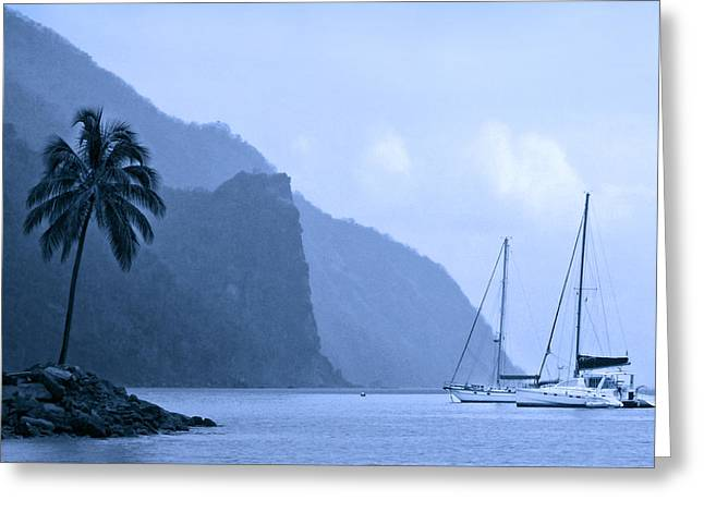 Boats In Harbor Greeting Cards - Misty Morning in Paradise Greeting Card by Carolyn Derstine