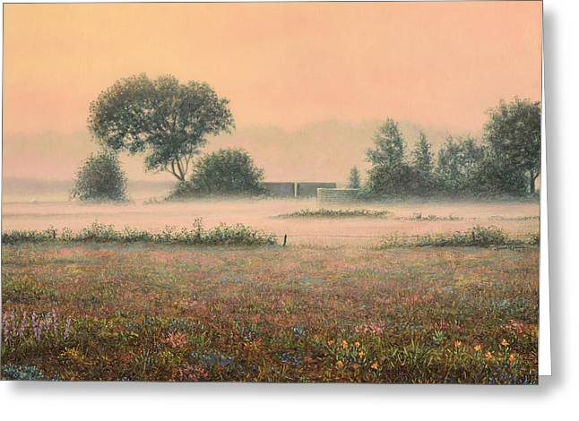 James Paintings Greeting Cards - Misty Morning Greeting Card by James W Johnson