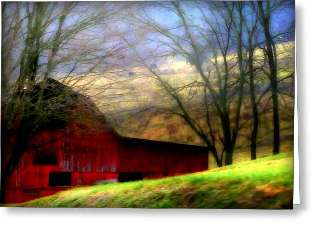 Red And Green Photographs Greeting Cards - Misty Morning Greeting Card by Karen Wiles