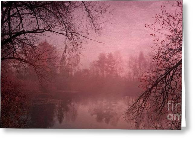 Pond Photographs Greeting Cards - Misty Morning Light Greeting Card by Priska Wettstein