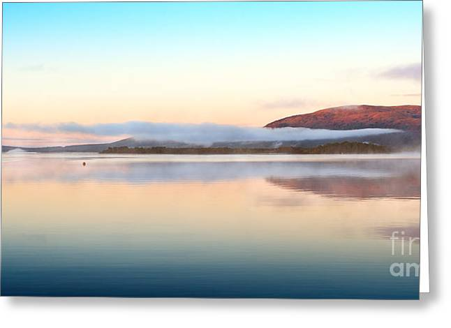 Trossachs National Park Greeting Cards - Misty Morning Milarrochy Bay Loch Lomond Greeting Card by Janet Burdon