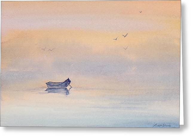 Soft Light Paintings Greeting Cards - Misty Morning Peace Watercolor Painting Greeting Card by Michelle Wiarda