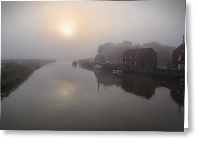 Snape Greeting Cards - Misty Morning River Alde UK Greeting Card by Ralph Muir