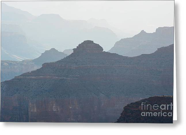 National Parks Greeting Cards - Misty Morning Silhouettes in Grand Canyon National Park Greeting Card by Shawn O