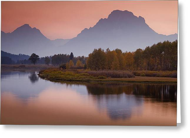 Pink Sunset Greeting Cards - Misty Mountain Evening Greeting Card by Andrew Soundarajan