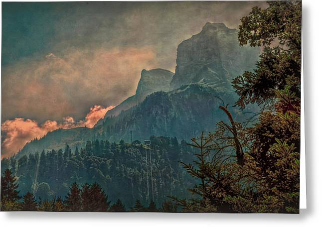 Himmel Greeting Cards - Misty Mountain Greeting Card by Hanny Heim