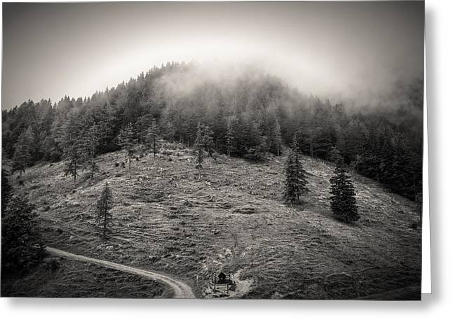 Mountain Valley Greeting Cards - Misty Mountain Greeting Card by Ian Hufton