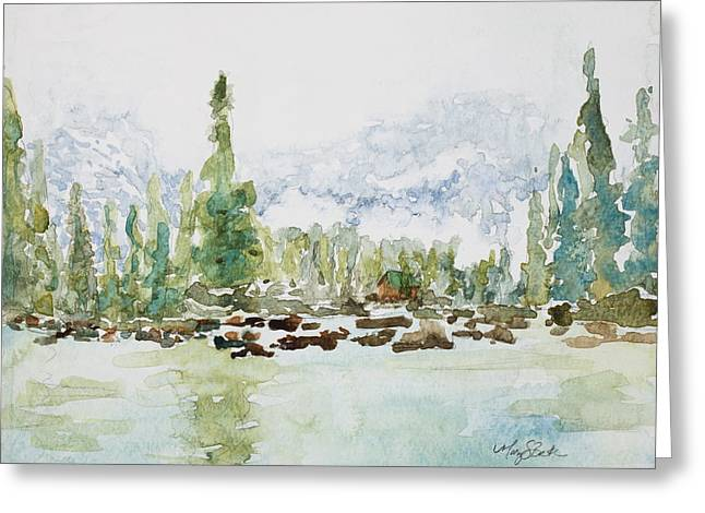 Loveland Artist Greeting Cards - Misty Mountain Lake Greeting Card by Mary Benke