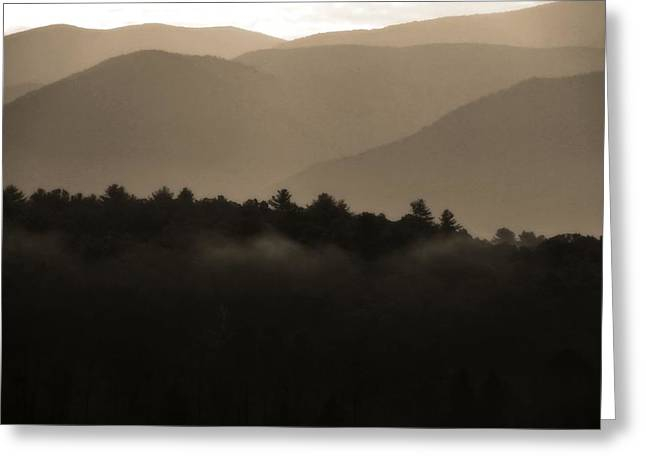 Gatlinburg Tennessee Greeting Cards - Misty Mountain Morning In Tennessee Greeting Card by Dan Sproul