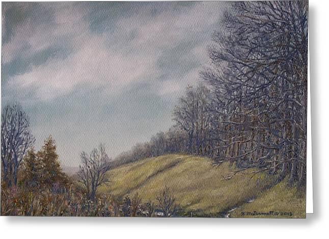 Misty Mountain Valley Greeting Card by Kathleen McDermott