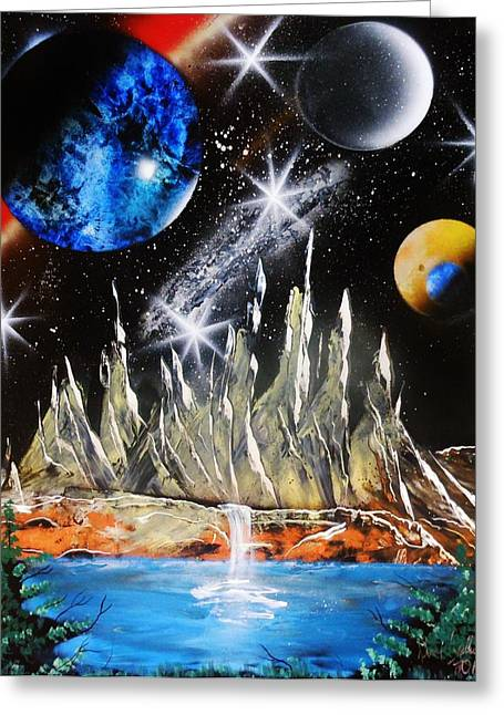 Outer Space Paintings Greeting Cards - Misty Mountains Greeting Card by Amy LeVine