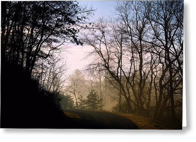 Roadway Greeting Cards - Misty Mountains Greeting Card by Kathryn Meyer