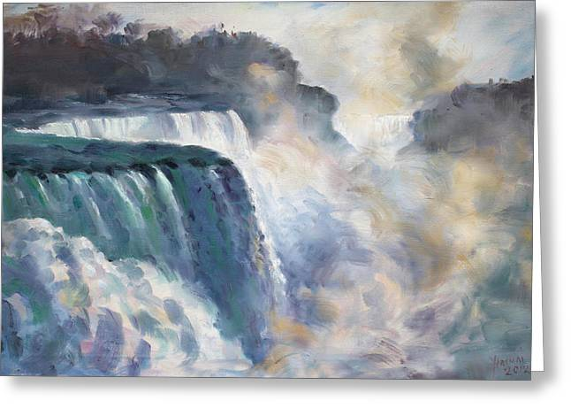 Misty Greeting Cards - Misty Niagara Falls Greeting Card by Ylli Haruni