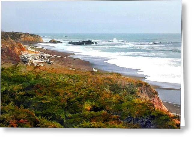 Recently Sold -  - Cambria Greeting Cards - Misty Ocean Shoreline Greeting Card by Elaine Plesser