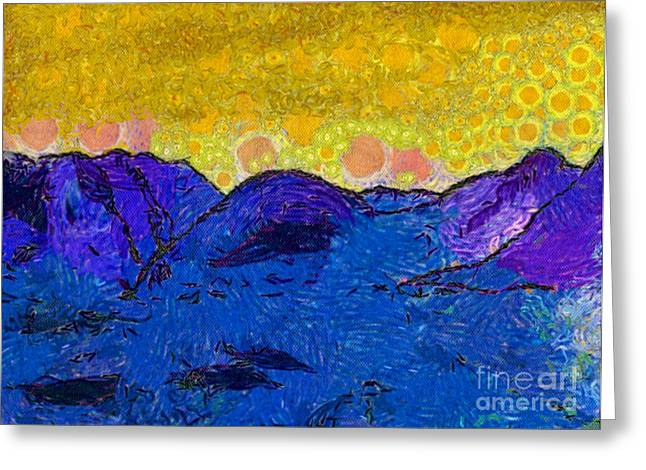 Van Gogh Style Greeting Cards - Misty Purple Mountains Ii Greeting Card by Anita Lewis
