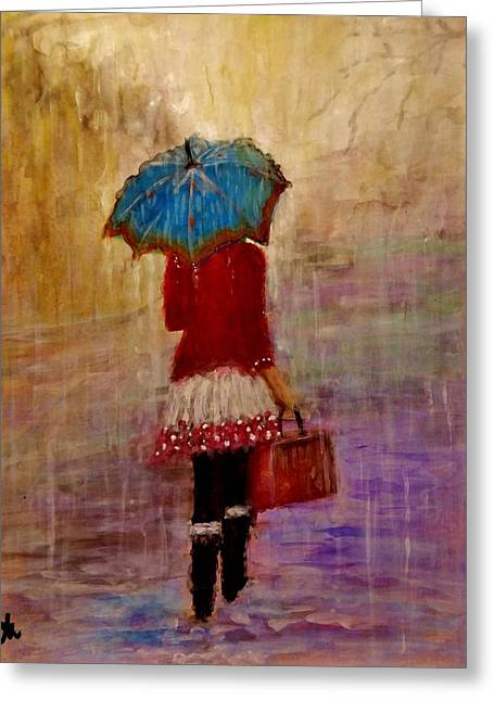 Abstract Purse Greeting Cards - Misty rain... Greeting Card by Cristina Mihailescu