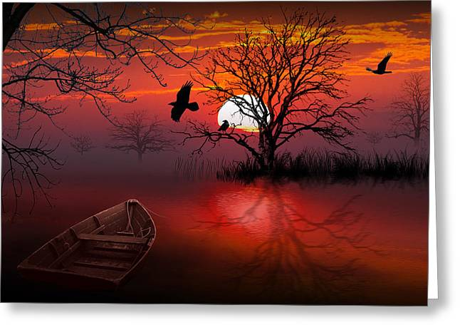 Randy Greeting Cards - Misty Red Sunrise with Ravens Greeting Card by Randall Nyhof