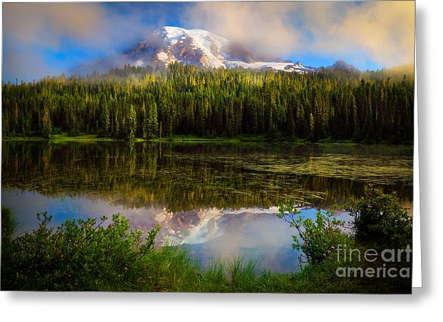 Cascade Mountains Greeting Cards - Misty Reflection Greeting Card by Inge Johnsson