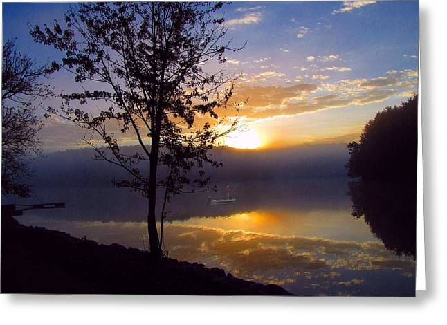 Arrow-leaf Greeting Cards - Misty Reflections Greeting Card by David Dehner