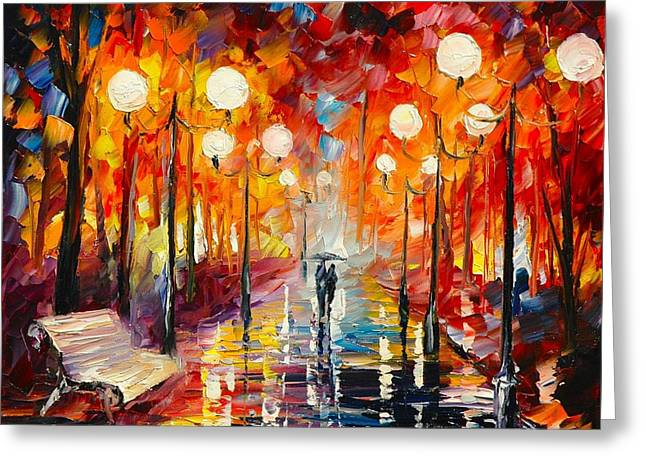 Misty. Greeting Cards - Misty   Reflections Greeting Card by Leonid Afremov