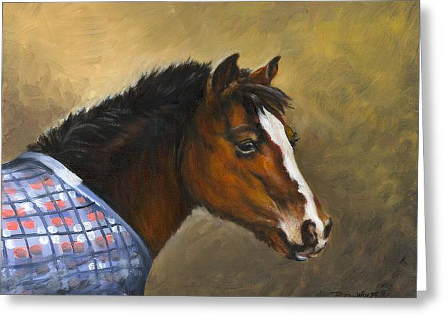 Horse Portrait Greeting Cards - Misty Greeting Card by Richard De Wolfe