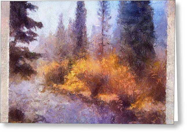Mystical Landscape Greeting Cards - Misty River Afternoon Greeting Card by Arthaven Studios