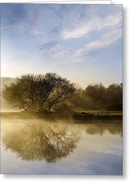 Fog Rising Greeting Cards - Misty River Sunrise Greeting Card by Christina Rollo
