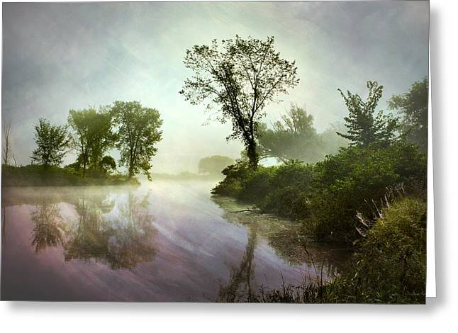 Stream Digital Greeting Cards - Mysterious Reflection Landscape Greeting Card by Christina Rollo
