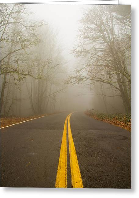 Introspective Greeting Cards - Misty road Greeting Card by Kunal Mehra