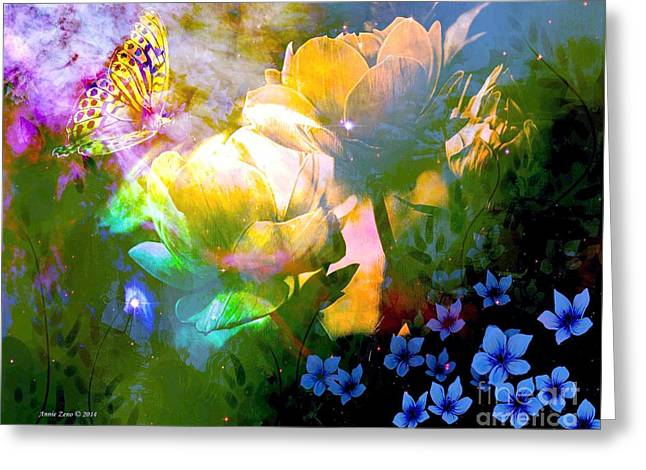 Floral Digital Art Digital Art Greeting Cards - Misty Roses And Butterfly Greeting Card by Annie Zeno