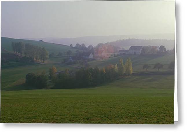 Envelop Greeting Cards - Misty Rural Scene, Near Neuhaus, Black Greeting Card by Panoramic Images