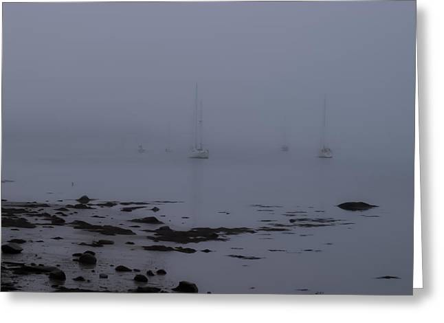 Sailboats In Harbor Greeting Cards - Misty sails upon the water Greeting Card by Jeff Folger