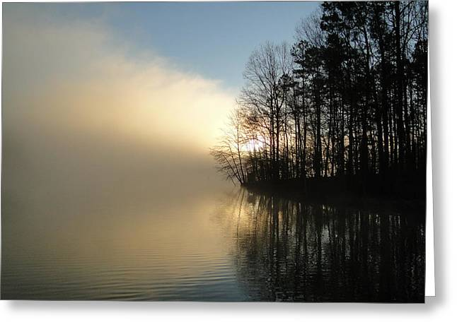 Cane Creek Greeting Cards - Misty Sunrise Greeting Card by Cindy Croal