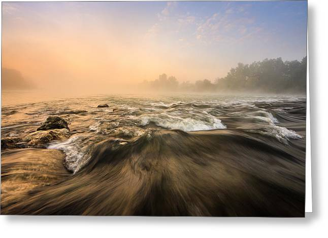 Rapids Greeting Cards - Misty Sunrise Greeting Card by Davorin Mance