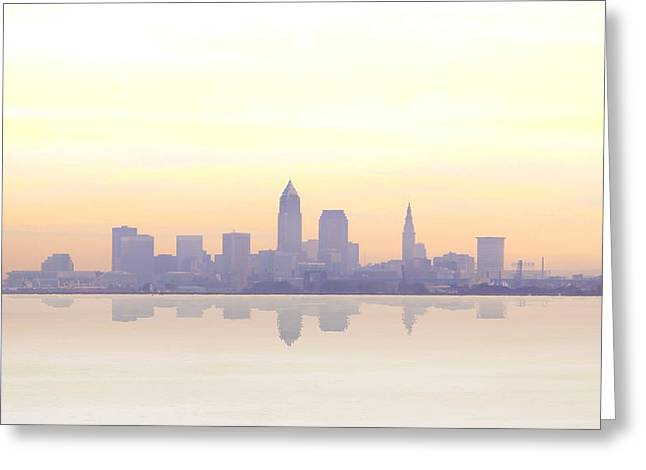 Misty Sunrise In Cleveland Greeting Card by Kitty Ellis