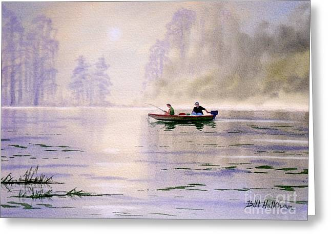 Burt Reynolds Greeting Cards - Misty Sunrise On The Lake Greeting Card by Bill Holkham