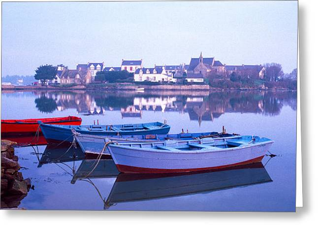 River Mist Greeting Cards - Misty Sunrise Over Etel River Greeting Card by Panoramic Images