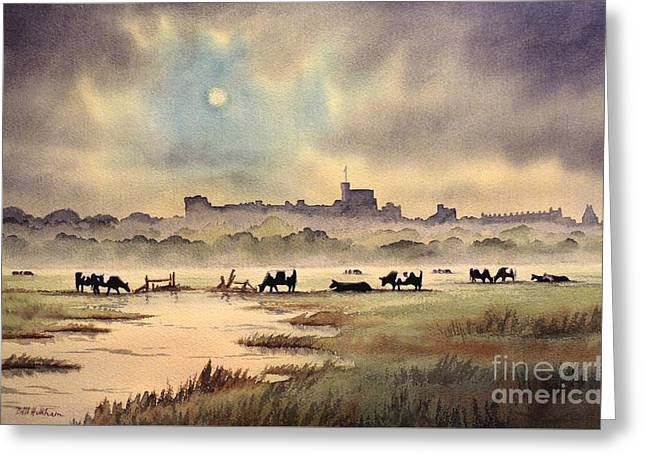 Royal Family s Paintings Greeting Cards - Misty Sunrise - Windsor Meadows Greeting Card by Bill Holkham